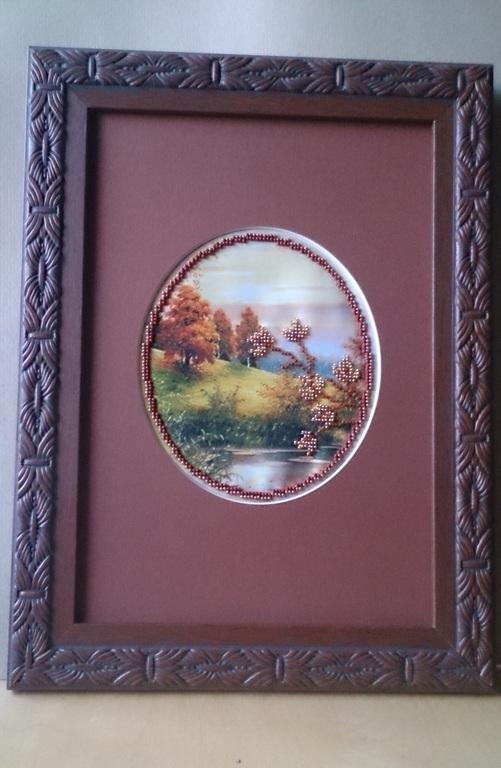 Пейзаж ручной работы. Ярмарка Мастеров - ручная работа. Купить Картина вышитая бисером - Осень.. Handmade. Коричневый, картина для интерьера