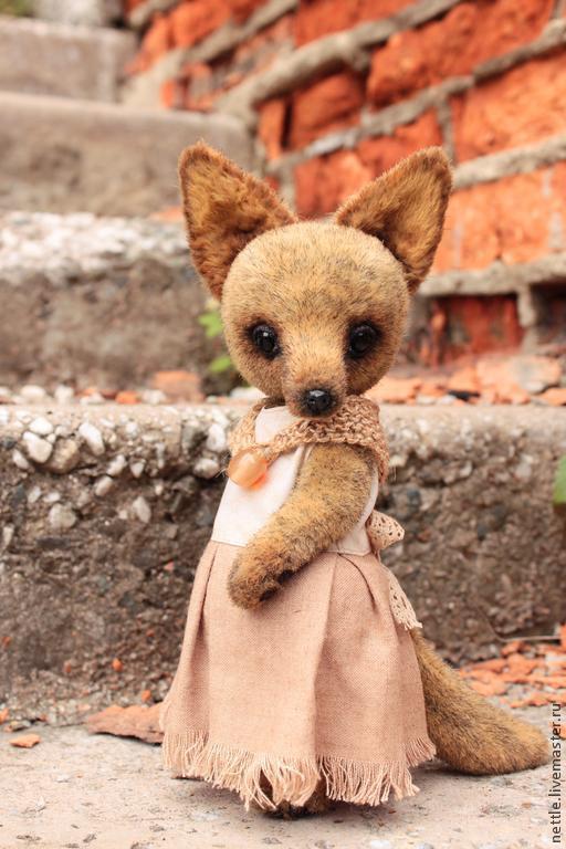 Мишки Тедди ручной работы. Ярмарка Мастеров - ручная работа. Купить Лисица в платье. Handmade. Коричневый, лисица, плюш германия