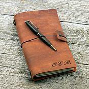 Канцелярские товары handmade. Livemaster - original item Leather notebook with initials. Handmade.