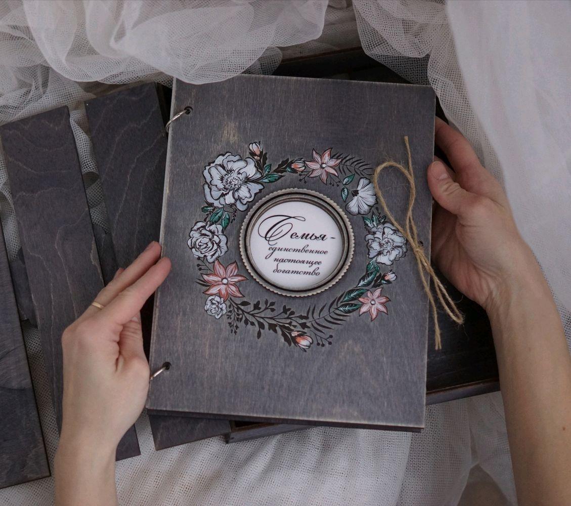 Фотоальбом с деревянной обложкой, с цветами, Фотоальбомы, Екатеринбург,  Фото №1