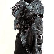Аксессуары ручной работы. Ярмарка Мастеров - ручная работа Шарф валяный Чёрные листья 3. Handmade.
