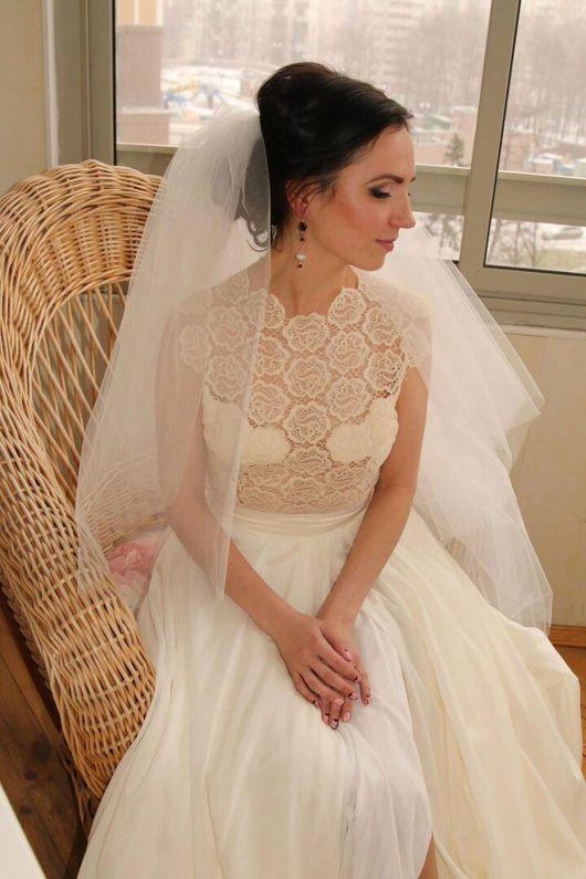 Одежда и аксессуары ручной работы. Ярмарка Мастеров - ручная работа. Купить Свадебное платье. Handmade. Кружево, шелк натуральный