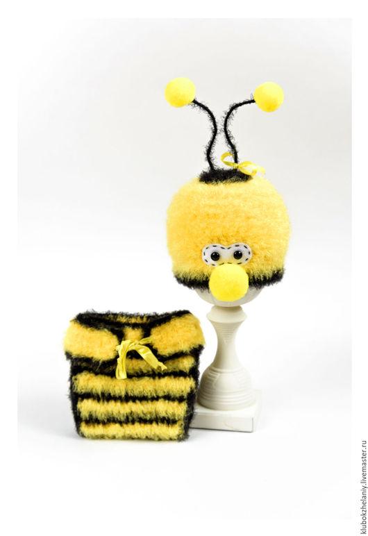 """Для новорожденных, ручной работы. Ярмарка Мастеров - ручная работа. Купить Комплект """"Пчелка"""" для фотосессии новорожденного. Handmade. Шапочка для фотосессии"""
