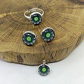 Украшения handmade. Livemaster - original item Green Mandala Jewelry Set. Handmade.