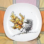"""Посуда ручной работы. Ярмарка Мастеров - ручная работа Тарелка """"Ежик в тумане"""". Handmade."""