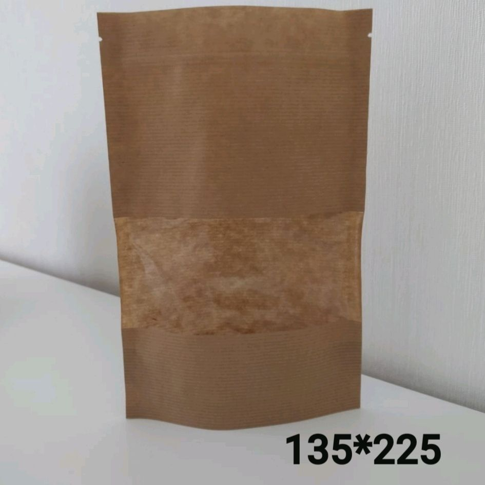 Крафт дой пакет с окном 7см 135*225, Упаковка, Санкт-Петербург,  Фото №1
