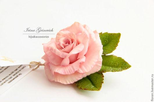 """Броши ручной работы. Ярмарка Мастеров - ручная работа. Купить Брошь """" Розовая роза"""". Handmade. Розовый, подарок"""