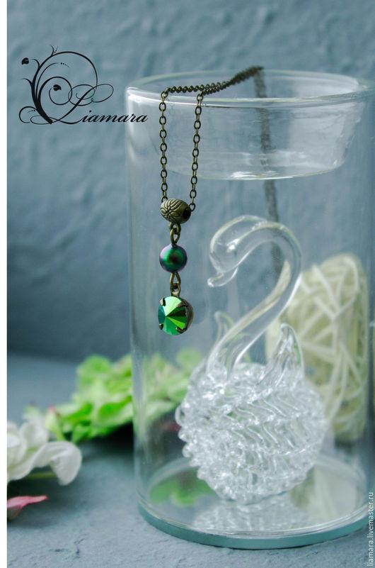 """Кулоны, подвески ручной работы. Ярмарка Мастеров - ручная работа. Купить Украшение на шею """"Скарабей"""". Handmade. Зеленый, swarovski beads"""