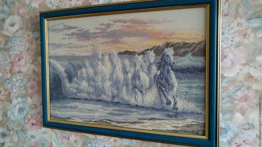 """Животные ручной работы. Ярмарка Мастеров - ручная работа. Купить Картина """"Волна"""". Handmade. Синий, лошади, закат, океан"""