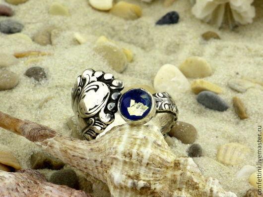 """Кольца ручной работы. Ярмарка Мастеров - ручная работа. Купить """"Нежность ночного моря"""" серебряное винтажное кольцо лэмпворк. Handmade."""