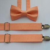 Аксессуары handmade. Livemaster - original item Set bow tie and suspenders peach. Handmade.