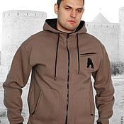 Мужская одежда handmade. Livemaster - original item Men`s zip-up hoodie with pockets, brown bear hoodie. Handmade.