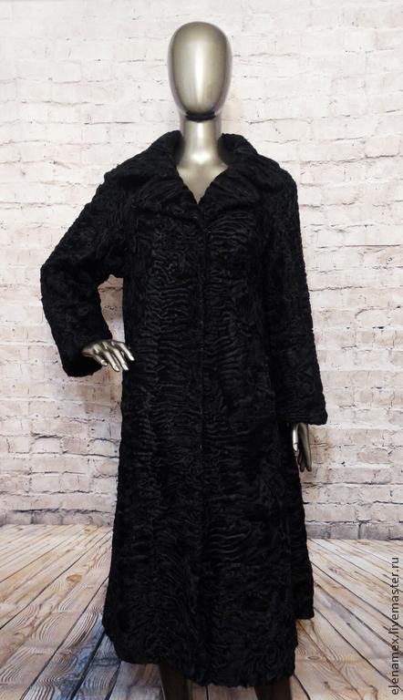 Верхняя одежда ручной работы. Ярмарка Мастеров - ручная работа. Купить Пальто из каракуля swakara. Handmade. Черный, пальто из каракуля