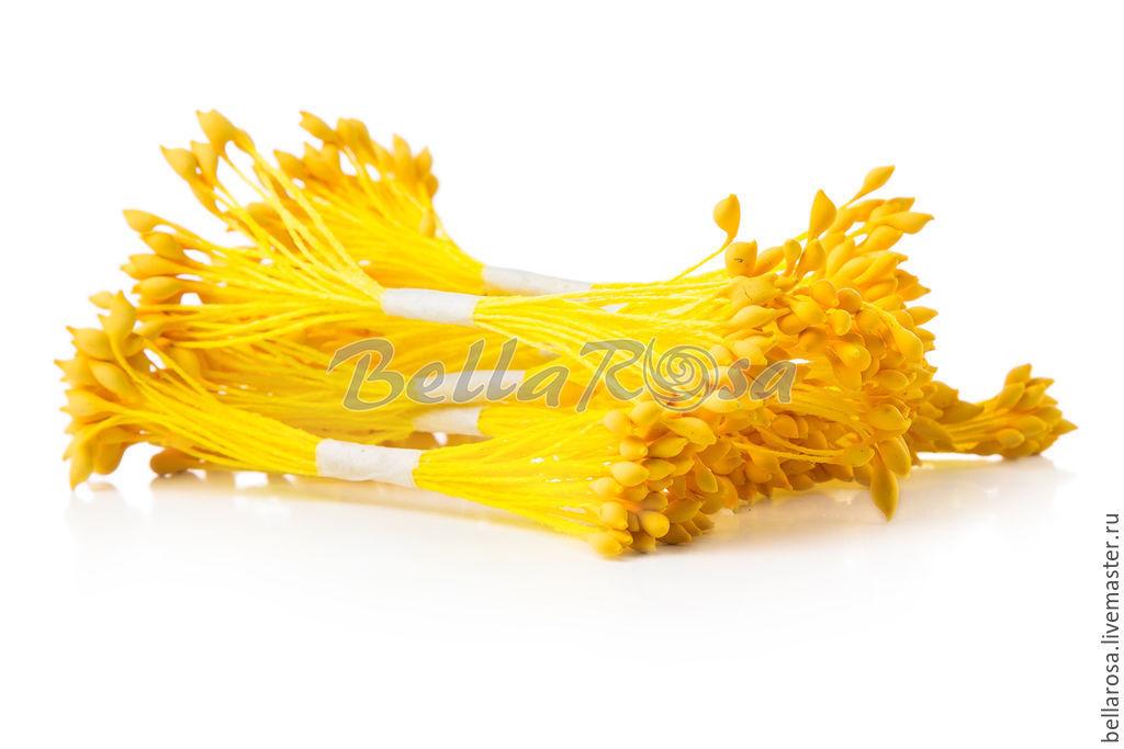 Материалы для флористики ручной работы. Ярмарка Мастеров - ручная работа. Купить 5 пучков. Тычинки желтые ножки, желтые головки. Handmade.