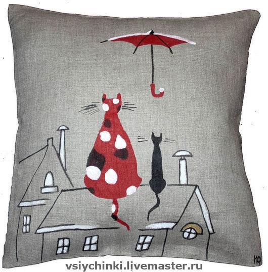 Текстиль, ковры ручной работы. Ярмарка Мастеров - ручная работа. Купить Подушка Влюблённые коты. Handmade. Подарок, диванная подушка