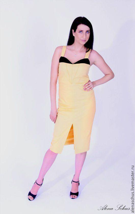 Платья ручной работы. Ярмарка Мастеров - ручная работа. Купить Платье офисное, платье футляр. Handmade. Желтый, вечернее платье