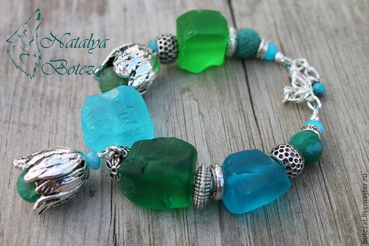 Колье браслет серьги зеленый морской волны синий голубой из необработанных камней аква кварцев матированных .  Колье браслет серьги из натуральных камней. Подарок для женщины девушки коллеги купить