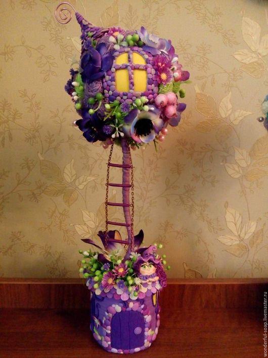 """Топиарии ручной работы. Ярмарка Мастеров - ручная работа. Купить Топиарий """"Домик для феи"""". Handmade. Фиолетовый, топиарий дерево счастья"""