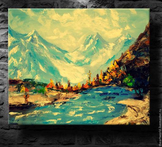 """Картины цветов ручной работы. Ярмарка Мастеров - ручная работа. Купить Картина авторская  масло холст  """"Горы Непала""""  картина маслом. Handmade."""