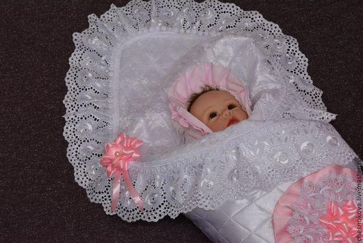"""Для новорожденных, ручной работы. Ярмарка Мастеров - ручная работа. Купить Уголок на выписку для новорожденного """"принцесса"""". Handmade. Белый"""