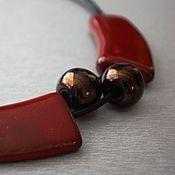 Украшения ручной работы. Ярмарка Мастеров - ручная работа Колье на кожаном шнуре с керамикой-2. Handmade.