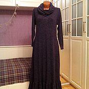 Одежда ручной работы. Ярмарка Мастеров - ручная работа Теплое платье макси с воланом и съемным снудом Серафима. Handmade.