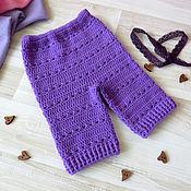Работы для детей, handmade. Livemaster - original item Knitted pants for newborn baby boy, purple. Handmade.