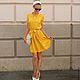 """Платья ручной работы. Ярмарка Мастеров - ручная работа. Купить Платье """"Retro...je t'aime!"""". Handmade. Желтый, горчичный"""