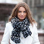 Аксессуары handmade. Livemaster - original item Scarf large hand knitted black with white. Handmade.