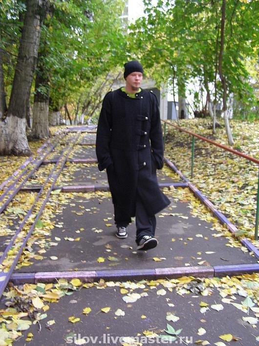 Верхняя одежда ручной работы. Ярмарка Мастеров - ручная работа. Купить Мужское вязаное пальто 101. Handmade. пальто спицами
