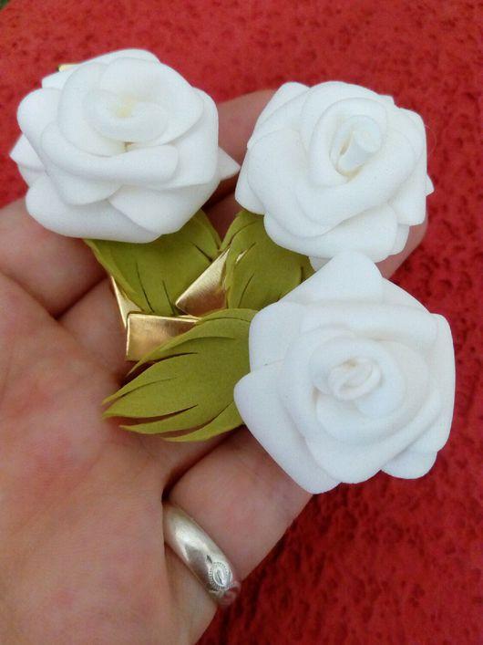 """Заколки ручной работы. Ярмарка Мастеров - ручная работа. Купить Заколки-зажимы для волос с цветами """"Белая роза"""". Handmade."""