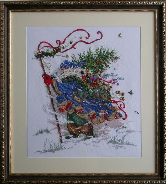 """Фантазийные сюжеты ручной работы. Ярмарка Мастеров - ручная работа. Купить Вышитая картина """"Санта Клаус"""". Handmade. Санта клаус"""