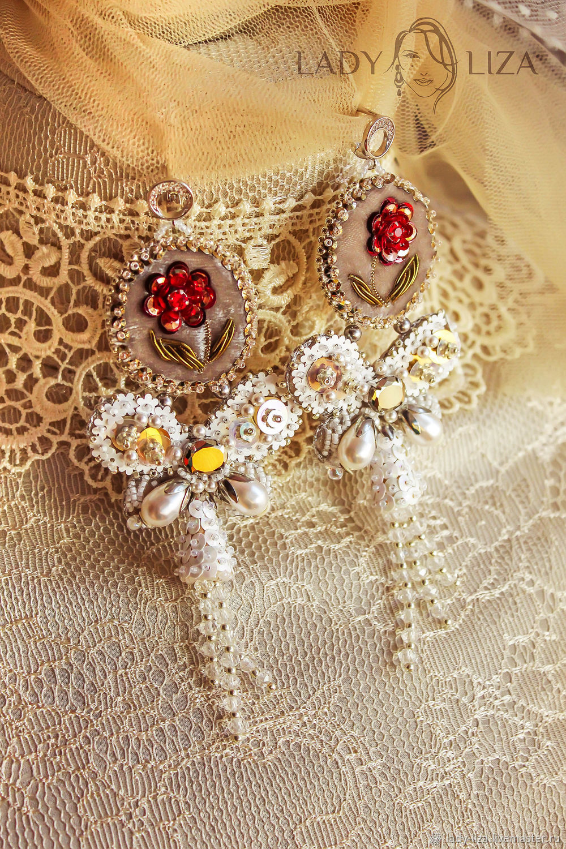 Embroidered Angelica earrings. Wedding earrings, Earrings, Zelenokumsk,  Фото №1