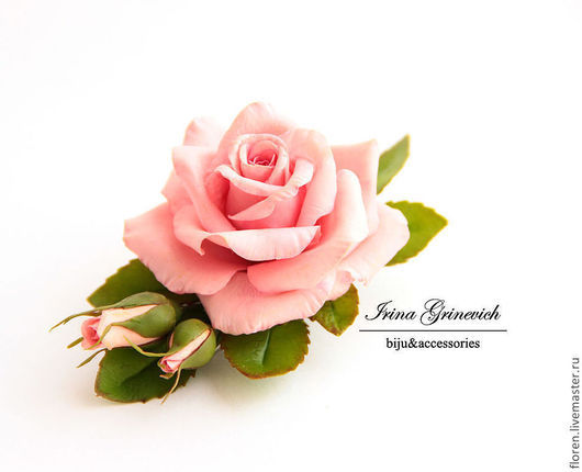 Заколки ручной работы. Ярмарка Мастеров - ручная работа. Купить Заколка-зажим с розовой розой.. Handmade. Розовый, подарок