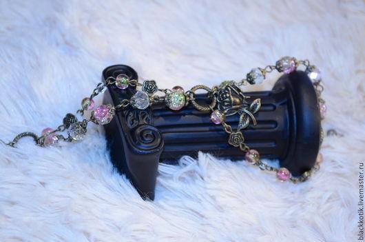 """Браслеты ручной работы. Ярмарка Мастеров - ручная работа. Купить Браслет """"Дикая роза"""" Цветы Розовый Салатовый Бронза Кракле. Handmade."""