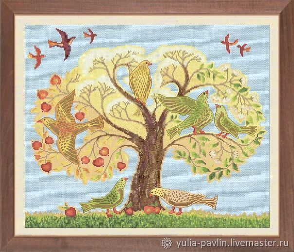 `The tree. Birds of Paradise`. Author's scheme for embroidery technique `counted cross stitch`.