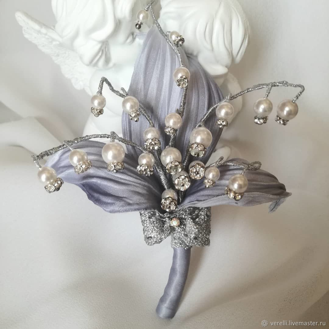 Lily of the Valley pearl brooch ' Femininity'', Brooches, Moscow,  Фото №1