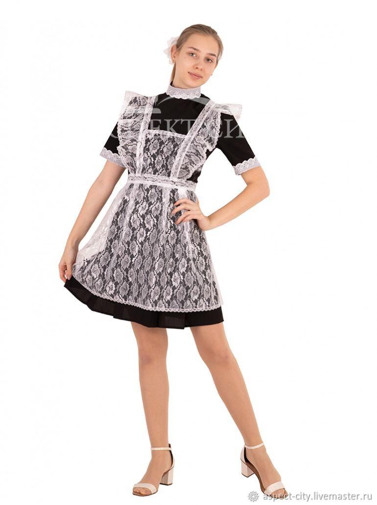 Комплект платье и фартук, 14-460ч (черное платье и белый фартук), Школьная форма, Москва,  Фото №1
