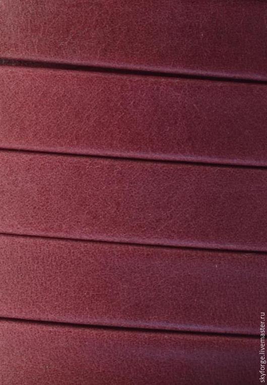 Для украшений ручной работы. Ярмарка Мастеров - ручная работа. Купить Кожаный шнур плоский 10x1,5 мм Denver,  Гранат. Handmade.