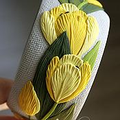 """Украшения ручной работы. Ярмарка Мастеров - ручная работа Цветочный браслет """"Жёлтые тюльпаны"""" из полимерной глины. Handmade."""