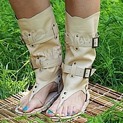 Обувь ручной работы handmade. Livemaster - original item sandals boots leather beige cream. Handmade.