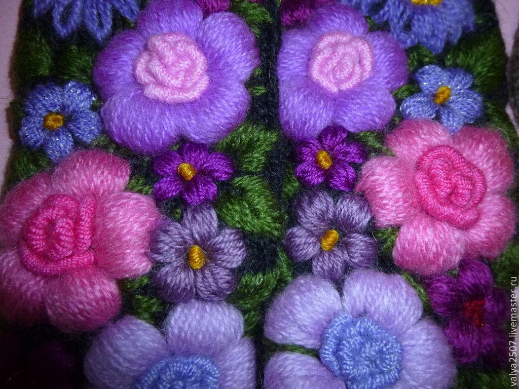 Вышивка по трикотажному полотну цветы 54