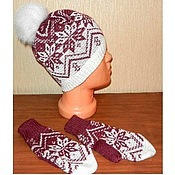 Аксессуары handmade. Livemaster - original item Mittens, beanie, knit with a Norwegian ornament. Handmade.