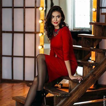 Одежда ручной работы. Ярмарка Мастеров - ручная работа Платье-футляр красное. Handmade.