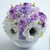 """Цветы и флористика ручной работы. Ярмарка Мастеров - ручная работа композиция """"Нежность"""" с маками и хризантемой. Handmade."""