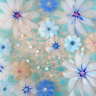 """Посуда ручной работы. Ярмарка Мастеров - ручная работа Блюдо """"Лунные цветы"""", фьюзинг. Handmade."""