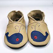 Работы для детей, handmade. Livemaster - original item Blue whale baby shoes, Ebooba, Soft sole boy shoes, Crib Shoes. Handmade.