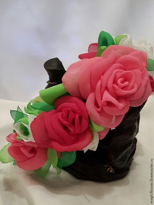 Диадемы, обручи ручной работы. Ярмарка Мастеров - ручная работа. Купить Ободок для волос  Море роз. Обруч для волос. Цветы из ткани. Handmade.
