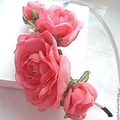 handmade. Livemaster - original item Headband with flowers is made of chiffon
