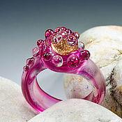 """Кольца ручной работы. Ярмарка Мастеров - ручная работа Лампворк. Кольцо """"Рубиновое золото"""" размер 14 и 3/4. Handmade."""